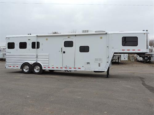 "#56240A  2009 Kiefer  Genesis 8103, 3H GN, All Alum w/10' LQ, 8'X24'X7'6"" Tall Dinette/Sleeper, Lg Dinette Window, 6cu Ref/Freez, 2 Burner Stove, Microwv, Dbl Sink, Flip-up Counter Extension, TV, AM/FM/CD Player, Vanity, Sink, Stool & Shower, Walk Thru Door to Horse Area,  Awning, 2 Mangers, Drop-Down Feed Door w/ Fold-Down Bars, Escape Door, Bridle Hooks, 3 Tier Saddle Rack, Collaps Rear Tack, Dual Elec Jack, Lined & Insul Roof & Sidewalls Horse Area.  ***Sale Price $31,900.00***"