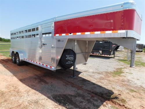 "AD#4321 2018 Barrett GN 7' X 20' X 6'6"" Red Skin Stock, Full Width Rear Gate W/Half Slider, 1 Center Gate W/Half Slider, Drop Down Calf Gate, Corrugated Ribbed Floor, Double Tail Lights, Bullet Lights, 2-7,000 Lb Axles, 235/80 R16 + Spare-Aluminum Wheels. Financing & Delivery Available! Sug Selling $19,285  Sale Price $15,500"