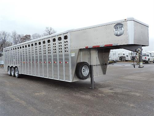 "#27071  2019 Merritt Cattle Drive Stock  GN  8'x32'x6'6"",  8K Dexter EZ-Lube Axels,  215/75/R17.5 16-ply Radials, 2 Slam-Latch Center Gates, .050 One-Piece Alum Roof, Alum Punched Panel,  .077w/Riveted Ext Posts, HD Tear-Drop Alum Fenders, Corrug Rib Floor, I-Beam Heavy Web Fully-Welded Floor, Esc Door, Fold-Down Calf Gate, HD Full-Width Swing Rear Door w/Half-Slider w/LW-90 Hardened Rollers (not affected by Load Chemicals,)  All LED Lights.  Sugg. Price: $37,750.00  ***Sale Price $28,900.00***"