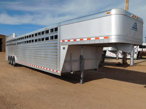 AD#11654 2010 Elite GN 8' X 36' X 7' DLX Stock, Full Width Rear Gate W/Half Slider, 2 Slam Latch Center Gates-1st Stud Compartment, Escape Door, Enclosed Nose W/Access Door, Lined & Insulated Walls & Fenders, Rubber Floor Mats, Double Tail Lights, Interior LED Lights, Hay Rack W/Ladder, 3-8,000 Lb Axles, NEW 17.5 18Ply Tires. Trailer Has Been Fully Serviced & Ready To Go! Trailer Is In Great Condition! Sale Price $25,900