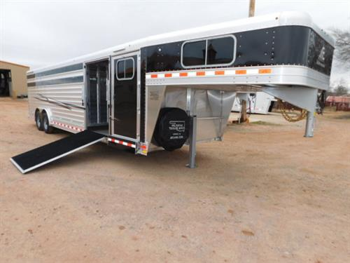 "AD#18674 2019 Elite GN 8' X 28' X 6'6"" DLX Show Cattle Combo, 4' Dress Room, Plexiglass Storage, Carpeted GN-Drop-Floor, 24' Stock, Full Width Rear Gate W/Half Slider, Center Gate W/Half Slider-Set 9' From Back, 8' Sliding Gate Rail W/ 3/4 Swing No Step Inside, Side Ramp W/1"" Threshold, Escape Door, 6 Roof Vents, Outside Low Tie Rail Both Sides, Inside High & Low Tie Rail On S/S, LED Bullet Lights, 2 LED Awning Load Lights, LED High Turn Signals, Interior LED Dome Lights"