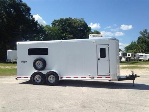 (REDUCED ~ 07/12/19) 2006 Shadow Exotic Animal Trailer with an interior height at 7' tall x 7' wide x 16' long, equipped with an A/C unit, wired for 110V, ducted into the livestock area as well as the front tack area, fully insulated and lined, center divider to make separate compartments, rubber mats and double back rear doors.  Spare tire – with a little fabricating this would make a nice hog show trailer as well.