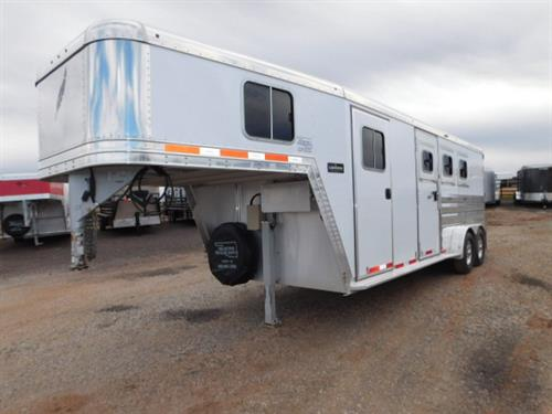 AD#5994 2015 Featherlite GN 7' X 20' X 7' Legend Edition 3 Horse, 6' To 9' Dress Room W/Camper Screen Door, Removable Swing Out Blanket Bar, 3 Tier Removable Saddle Rack-Dress Room To Rear Tack, Brush Tray, Carpeted GN-Drop-Floor, Collapsible Rear Tack, Bridle Hooks, 3 Drop Down Windows W/Fold Down Bars, Escape Door, 3 Drop Down Windows On Rump W/Fold Down Bars, Insulated Roof, 3 Roof Vents, Lined & Insulated Walls, Padded Slam Latch Dividers, Removable Stud Divider, Floor Mats