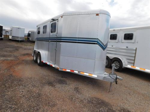 AD#113 1995 Sooner BP 7' X 13' X 7' V-Nose 2 Horse, 5' To 7' Dress Room, 2 Tier Saddle Rack W/3 Blanket Bars, Bridle Hooks, Full Width Rear Door, 2 Drop Down Windows W/Screens, Full Panel Padded Divider, Lined & Insulated Walls, Interior Light, 2 Load Lights, 2 Roof Vents, 2-3,500 Lb Axles. Trailer Is In Good Condition! Trailer Has Been Fully Serviced & Ready To Go! Sale Price $6,900