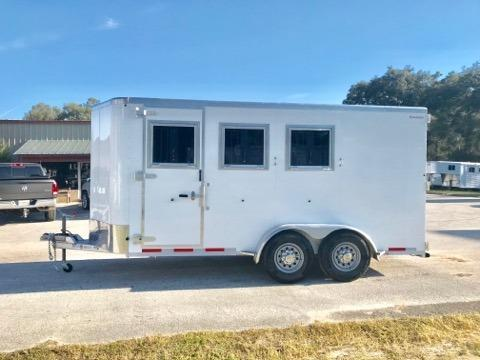 "2019 Kiefer (3) horse slant load bumper pull with a tack room that has an insulated roof, bridle hooks and a camper door.  The horse area has an interior height at 7' 6"" tall x 7' wide x 16' long, escape door, drop down windows with drop down aluminum bars, sliding bus windows at the horses hips, insulated roof, roof vents, rubber lined & insulated walls, rubber mats, rear collapsible tack room with saddle racks, bridle hooks, brush box and double back rear doors."