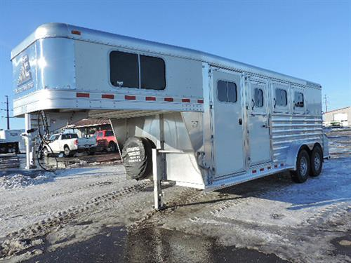 "#5212A  2015 Elite Mustang, 3H GN, 7'x18'x7' Tall,   4ft Short Wall.  Carpet on Floor, GN Drop and Floor, GN Windows, Halter Hooks in Dressing Room, Walk-thru-Door, Stud Divider at 1st Horse, Escape Door w/Drop-Down Feed Door.  Folding Rear Tack, 3 Saddle Racks, and 6 Halter Hooks,  Pads on Dividers.  This Trailer has had One Owner  & is ""LIKE NEW.""  ***Sale Price $19,950.00**"