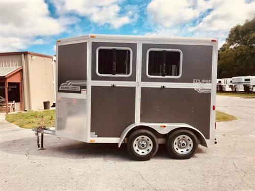"(REDUCED ~ 07/12/19) 2011 Eclipse (2) horse slant load bumper pull  trailer with a front tack room that has saddle racks, bridle hooks and a swinging tack room wall.  The horse area has an interior height at 7'6"" tall x 7' wide x 14' long, drop down windows at the horses heads with drop down aluminum bars, roof vents, rubber mats over wood floor and double back rear doors with a rear drop down window in the back door.  Spare tire."