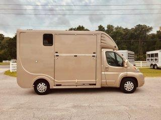 2014 Annard Allure Sport Horse Box with a Dodge Promaster 3500 Chassis that has a 3.6L Gas Engine with 280 horse power that on/ly has 6800 miles, 6 speed automatic  transmission and front wheel drive.  The horse area can accommodate Warmbloods, Thoroughbred's and even Draft Horses, with a side load ramp and the horses facing backwards, sliding divider to make one box stall, air conditioned