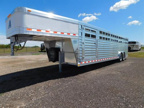 "AD#18853 2020 Elite GN 8' X 28' X 6'6"" DLX Stock, 50"" Escape Door, Full Width Rear Gate W/Half Slider, 2 Solid Center Gates W/Outside Quick Release Latches, Drop Down Calf Gate, 3 Roof Vents, 3 Interior Dome Lights, LED High Turn Signals, 2-8,000 Lb Axles, 235/80 R17.5 18Ply Radials + Spare. Financing & Delivery Available! Sug Selling $39,948  Sale Price $28,200"