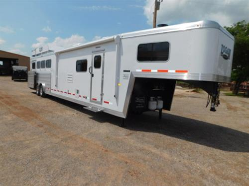 "AD#7591 2019 Logan Limited 814 GN 8' X 35' X 7'6"", 4 Horse Side-Load, 14' Solid Knotty Alder, 8' Slide-Out W/Dinette, Storage Under Dinette, Sofa-Sleeper, 2 Burner Stove, Double Kitchen Sink, 6 Cu. Fridge, Large Microwave, TV-DVD-AM-FM-CD Stereo, AC, Ducted Furnace, Neo-Angle Shower W/Glass Door, Vanity W/Sink, Porcelain Stool, Large Wardrobe W/Adjustable Shelves, Walk-Thru Door, Side Load W/Ramp & Single Stall Entry Door"