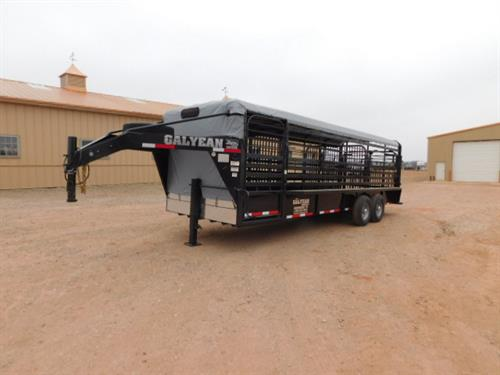 "AD#15103 2019 Galyean GN 6'8"" X 24' X 6'6"" Canvas Top Stock W/Uni-Body Frame, Full Width Rear Gate W/Half Slider, 40"" Escape Door, Movable HD Center Gate, HD Center Gate, Easy Open Slam Latch Handles, Lifetime X-Lug Cleated Floor W/1"" Spacing, DLX LED Lights, Interior LED Lights, LED Reverse Lights, Dupont Imron Paint Process W/Added Corrosion Inhibitors To Fight Rust, Resistant To Rock Chips & Scratches, Long Term Durability"