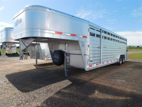 """AD#1555 2014 Exiss GN 7'6"""" X 24' X 6'6"""" Custom Stock, Large Escape Door, Full Width Rear Gate W/Half Slider, 2 Slam Latch Center Gates W/Half Sliders, Outside Quick Release Latches, Drop Down Calf Gate, Grilled Vents In GN Drop, 2-7,000 Lb Axles, 16"""" Radials + Spare, LED Bullet Lights, LED Interior Lights. Trailer Is In Excellent Condition! Trailer Has Been Fully Serviced & Ready To Go! Sale Price $15,500"""