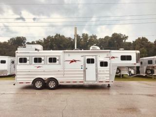 "2016 Platinum Coach (3) horse living quarter trailer with an 8' Outback Customs Conversion that has an A/C unit, 72"" couch, 3cu fridge & freezer, sink, microwave, cabinets, large closet space, stereo system and T.V.  The bathroom has a radius shower, sink with medicine cabinet, toilet, linen closet and a walk thru door into the horse area."