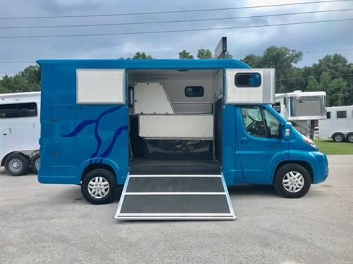 2018 Horse Boxes USA (2) Horse Straight Load Van built on a Ram ProMaster with a V6 3.6L Automatic (280) Horse Power Chassis with Heated Seats, Bluetooth, Cruise Control, Satellite Radio, Electric Mirrors, Fantastic Fan, Multiple Sliding Bus Windows for Maximum Ventilation, Rear Tack Room with Bench Seat, Curbside Side Tack Room with Two Saddle Racks and Bridle Hooks!  Brand New Demo with only 3,000 Miles on it!