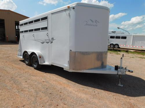 "AD#8902 2003 Titan Avalanche BP 6'8"" X 16' X 7', 3 Horse, V-Nose Dress Room, Swing Out 3 Tier Saddle Rack, Blanket Bar, Bridle Hooks, Spare Tire, Floor Mat, Full Width Rear Gate, 2 Dividers-Last Telescopic, Half Rubber Walls, Floor Mats, Interior Lights, 6 Outside Tie Hooks, Front Gravel Guard & Front Fenders, 2-3,500 Lb Axles. Trailer Is In Excellent Condition! Trailer Has Been Fully Serviced & Ready To Go! Sale Price $5,500"