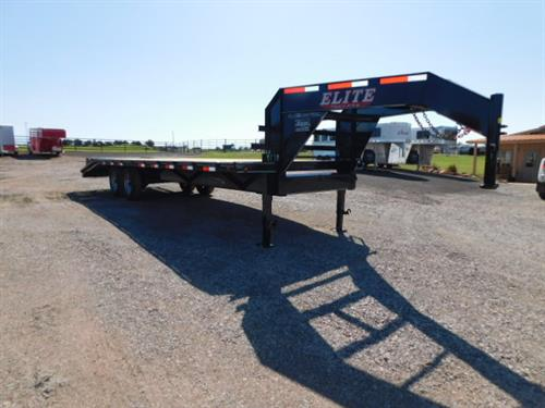 """AD#653 2019 Elite GN 102"""" X 20+5 Dovetail, 2 Fold Up Deck Level Ramps + 30"""" Pop Up Ramp, Lid On Chain Tray, Treated Wood, 2-7,000 Lb Axles. Financing & Delivery Available! Sug Selling $8,561  Sale Price $6,500"""