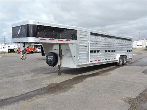 "#28061A   2013 Featherlite Stock – Custom Built!  7'6"" x 28' x 6'6"" Tall.  Complete set of Heavy Duty Deck Rail Double Deck Boards: makes 6 Compartments w/Split Gates.  Plexi-glass in Top Airspace Vents and Under G-Neck Fold-Down Cover Panels in 2nd Airspace.   Bottom Airspace Roll-up in Rear Door.  Double Tail Lights, 2 Unload lights on Rear of Trailer.  New 8000Lb Brakes & Bearings.  14 Ply Tires Like New.  Financing & Delivery Available. ***Sale Price $19,500.00***"