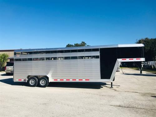 """2020 Kiefer 24' stock trailer with an interior height at 7'6"""" tall x 7' wide x 24' long, drop gate over the neck, escape door, (2) full size swinging center gates with half sliders, rubber lined walls, rubber mats over all aluminum floor and a full swinging rear door with a half slider and a rear ramp!  The exterior has a manual jack, black skin and aluminum wheels.   Super heavy duty built!"""