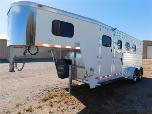 """AD#1053 2011 Hart GN 6'8"""" X 19' X 7', 3 Horse, 4' To 7' Dress Room, Full Boot Box, Cloth Rod, Bridle Hooks, Carpeted GN-Drop-Floor, 3 Drop Down Windows W/Fold Down Bars, 3 Drop Down Windows On Rump, Escape Door, Collapsible Rear Tack, Movable 3 Tier Saddle Rack W/2 Blanket Bars, Bell/Splint Bars, Padded Dividers, Lined & Insulated Walls, Floor Mats, 3 Roof Vents, 2-6,000 Lb Axles, NEW 235/80 R16 10Ply Radials + Spare"""