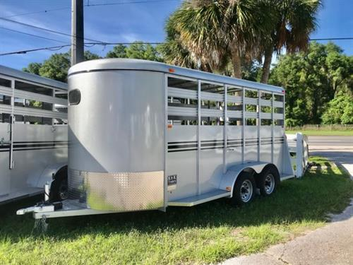 "2020 Bee 16' stock bumper pull trailer with an interior height at 7' tall x 6' 8"" wide x 16' long, escape door, full swinging center gate, rubber mats over wood floor and a full swinging rear door with a half slider.   The exterior has two 5200lbs axles with a spare tire.  LIFETIME WARRANTY on the Floor, made of Galvanized Steel and weighs 2600lbs."